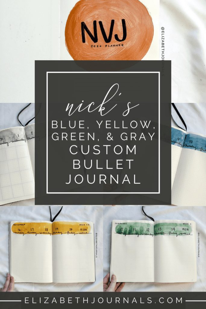 Looking for some bullet journaling inspiration? Here is a run-down of Nick's custom bullet journal. Nick's theme was blue, yellow, green, and gray!