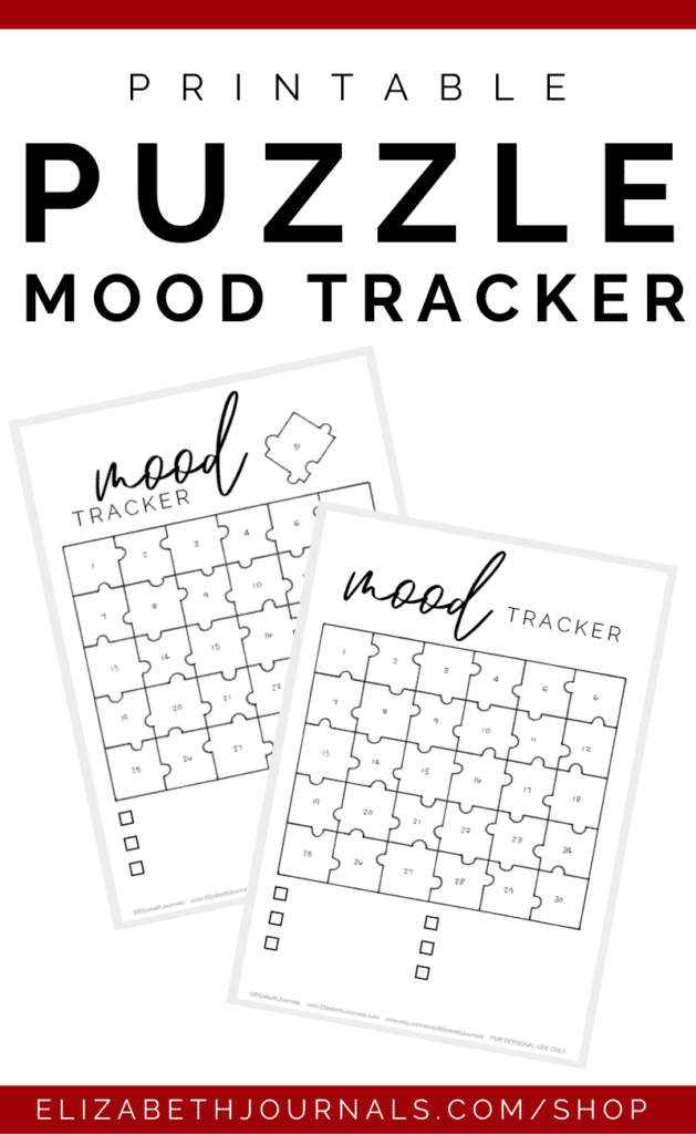 Do you enjoy doing puzzles, or at the very least the aesthetic of puzzle pieces? This mood tracker printable comes in both 30 and 31 days in the shape of a puzzle. The header is in script lettering plus print and there are six key options left black. The puzzle is hand-drawn and the entire page is based on a hand-drawn layout. These bullet-journal-inspired downloads can be printed off and added to any planner or journal. Instantly download the PDF of these designs once you purchase the listing. You will get one download to use immediately!