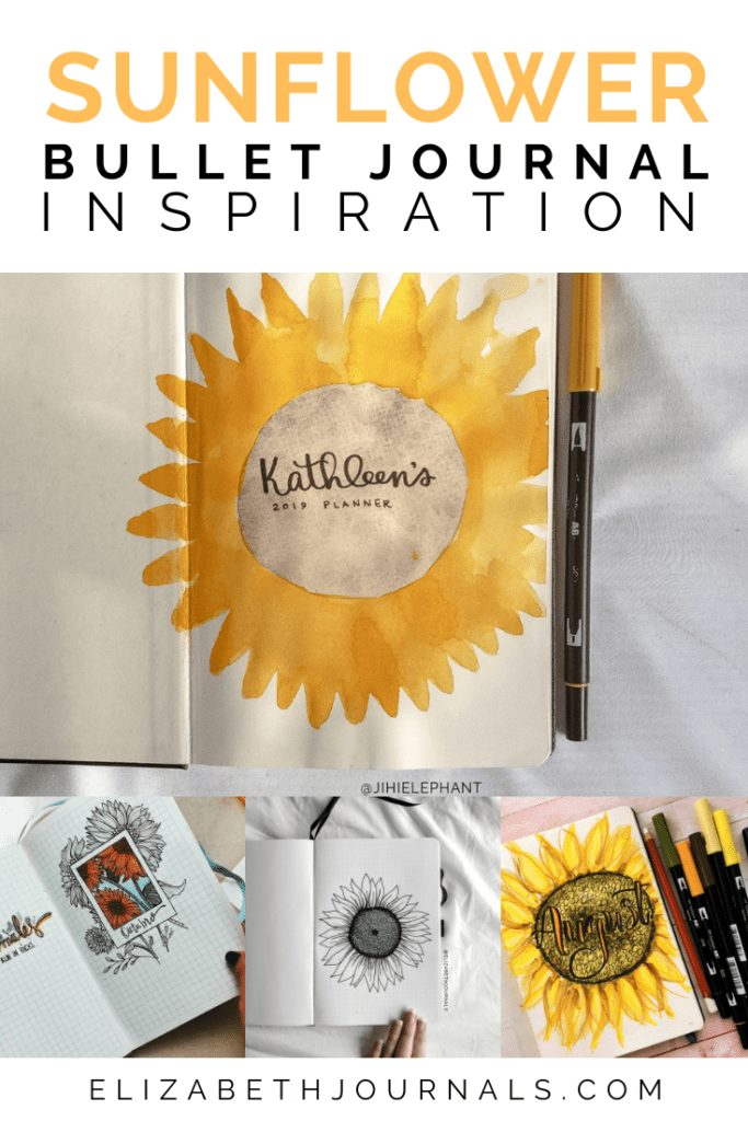 With spring approaching fast, I am getting more and more excited for summer! here is a quick little round-up of sunflower bullet journal page inspiration!