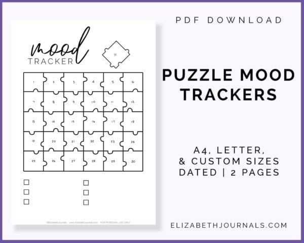 puzzle mood trackers-pdf download-a4 letter custom sizes-dated-2 pages-elizabethjournals-product preview