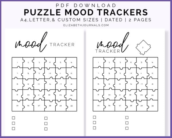 puzzle mood trackers-pdf download-a4 letter custom sizes-dated-2 pages-elizabethjournals-product previewS