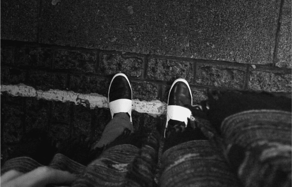 black and white shoes rainy day