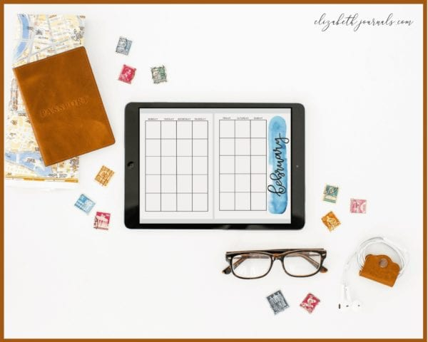 watercolor monthly overview tablet mockup blue