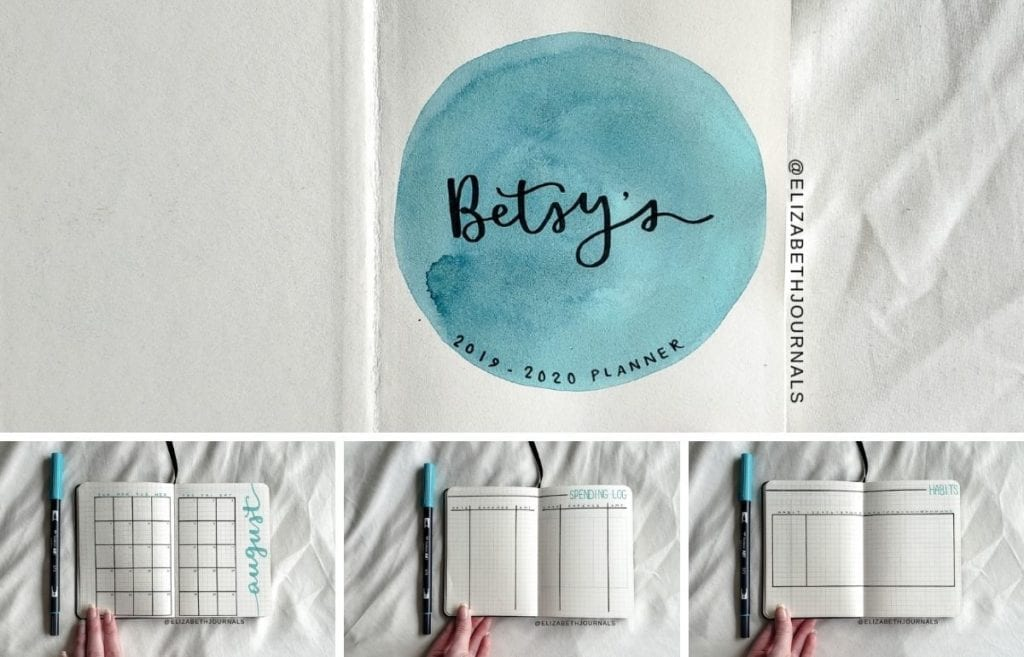 For Betsy's planner, the primary color is turquoise. Further, the layouts involved include a title page, year at a glance, monthly...