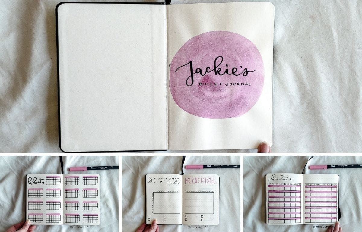 For Jackie's custom planner, the primary color is pink. The layouts included are a title page, year at a glance, savings jar tracker, monthly calendar...