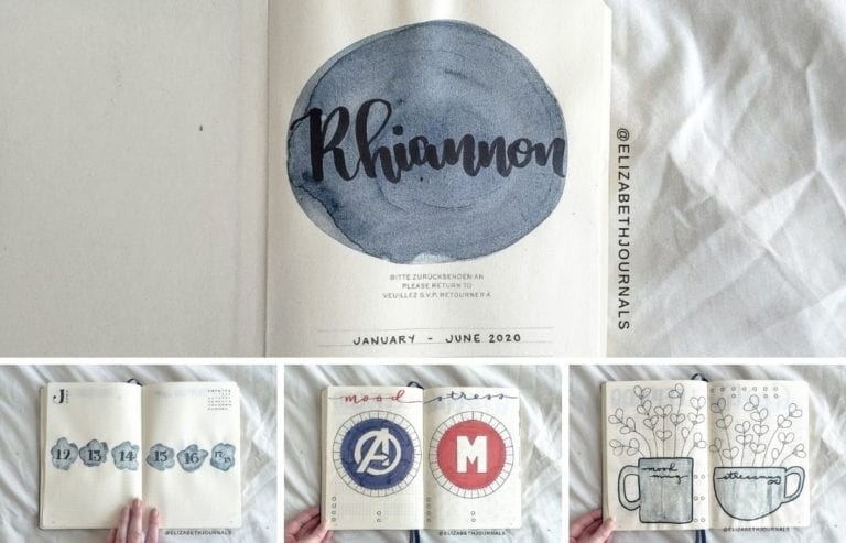 For Rhiannon's notebook, the primary color is navy blue. Further, the layouts involved include a title page, 2020 lunar calendar, future log, movies &...