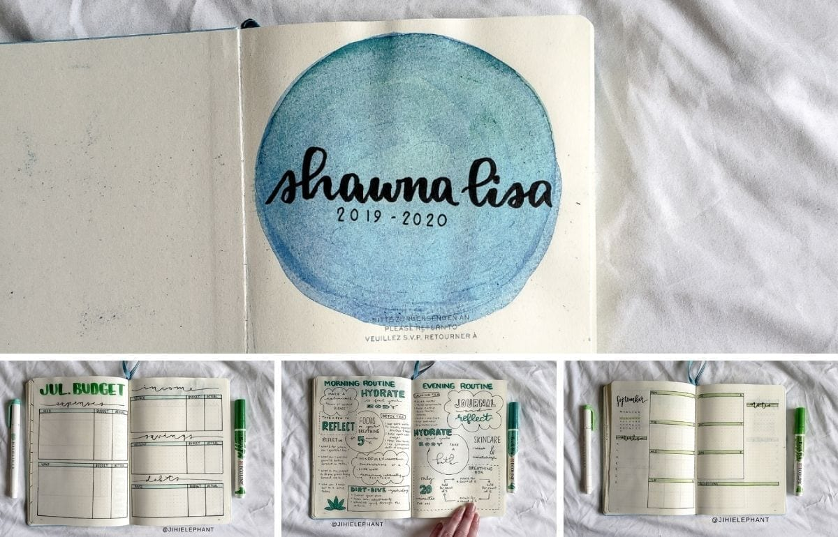 featured image showing collage of 4 different layouts from shawna lisa's bullet journal (title age, budget page, routine page, and weekly boxes page)