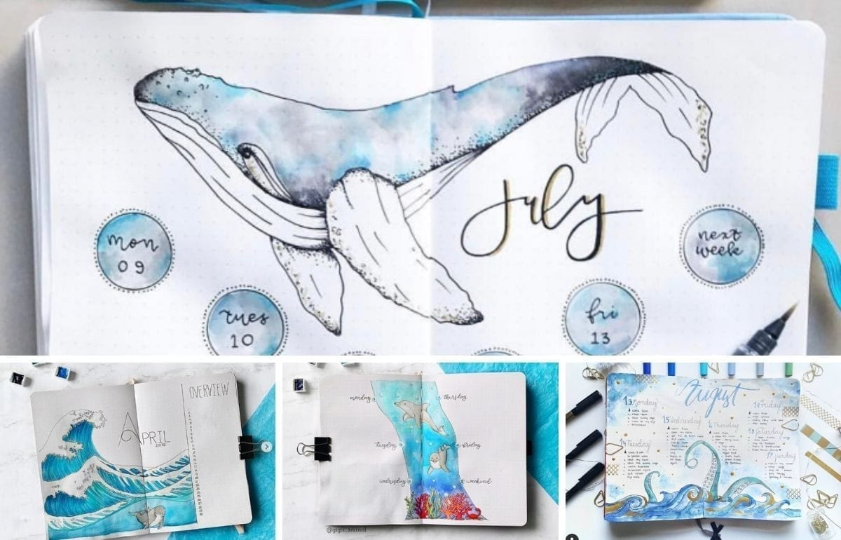 featured image under the sea bullet journal ideas collage of 4 ideas