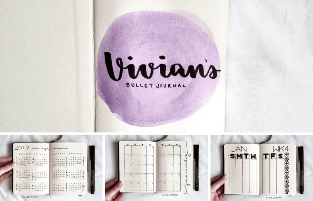 For Vivian's planner, the primary color used is purple. Further, the layouts involved include a title page, year at a glance, monthly calendar, and...