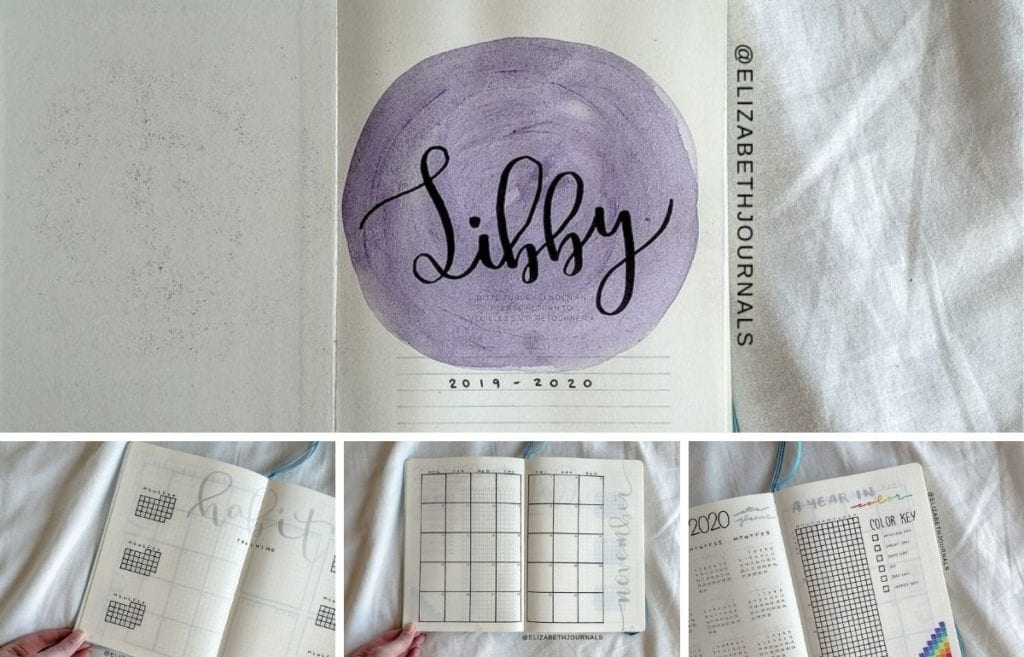 For Libby's planner, the primary color used is gray. Further, the layouts involved include a title page, year at a glance, mood pixels, monthly calendar...