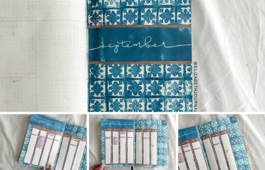 For September, my theme is teal stamps. This article will walk you through my process and how I created my September bullet journal spread.