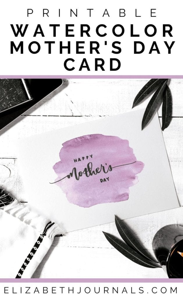 This 4 x 6 postcard is a printable card perfect for your mom this Mother's Day. This purple watercolor Mother's Day card is hand-painted and hand-drawn.