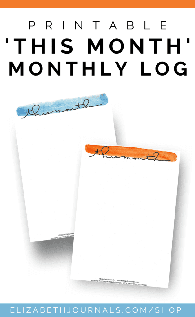 """These minimal watercolor """"this month"""" pages come in 10 colors: brown, pink, red, orange, yellow, green, blue, midnight blue, and purple."""
