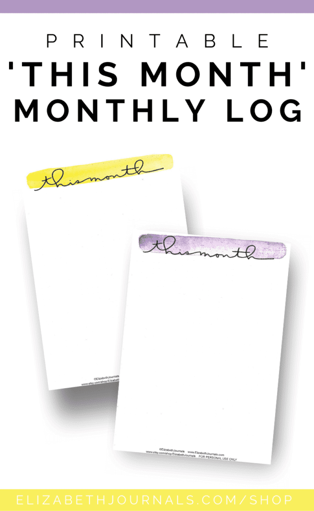 "These minimal watercolor ""this month"" pages come in 10 colors: brown, pink, red, orange, yellow, green, blue, midnight blue, and purple."