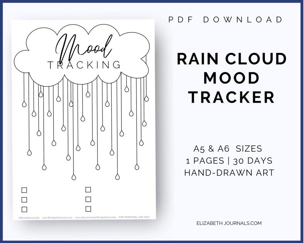 If you love fun seasonal styles and want to track your moods, this bullet journal layout is perfect for you this spring!This rain cloud mood tracker is a one-page tracker. The different raindrops can be colored in, doodled in, or written in to depict each day's mood. For this tracker, there are six key spaces at the bottom of the page.