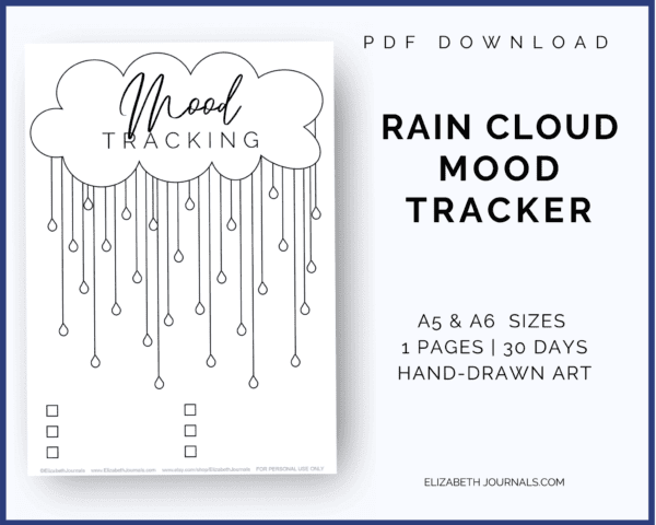 If you love fun seasonal styles and want to track your moods, this bullet journal layout is perfect for you this spring! This rain cloud mood tracker is a one-page tracker. The different raindrops can be colored in, doodled in, or written in to depict each day's mood. For this tracker, there are six key spaces at the bottom of the page.