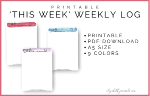 "These minimal watercolor ""this week"" pages come in 10 colors: brown, pink, red, orange, yellow, green, blue, midnight blue, and purple."