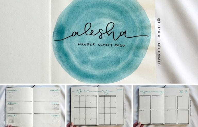Alesha purchased a custom bullet-journal-inspired planner, requesting turquoise for her secondary color. Further, the layouts involved include ...
