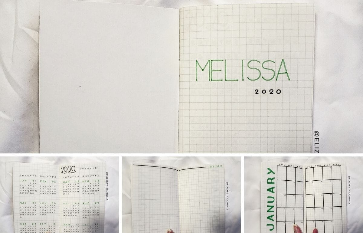 Melissa's planner is in a pocket calendar with a brown paper cover. The primary color used for Melissa's notebook is green. Read more...