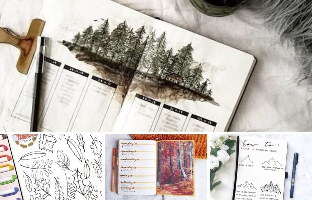 Nature is such a soothing and calming bujo theme. This round-up of bullet journal layout was inspired by calming nature themes and visuals.