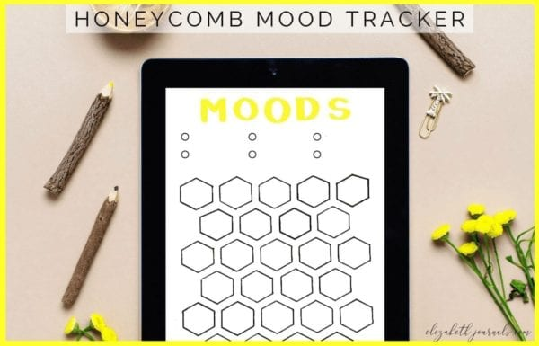 This honeycomb mood tracker is a one-page tracker. The different combs can be colored in, doodled in, or written in to depict each day's mood. For this tracker, there are six key spaces at the top of the page. If you love nature and want to track your moods, this bullet journal layout is perfect for you! This printable is great for any person wishing to add some style to their planner.