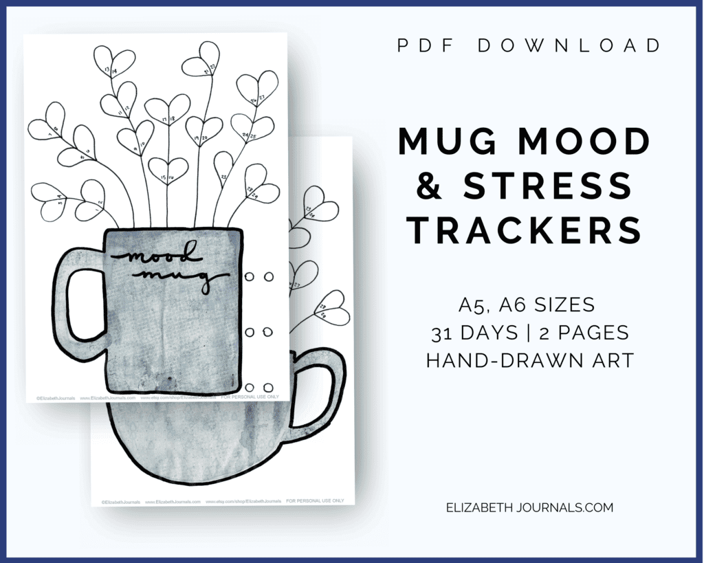 """This blue mug mood and stress trackers is a two-page tracker including two different trackers. You can color in the different parts of the mug's """"flowers"""" to depict each day's mood. The mood key is located at the top and bottom left of the page where there are six different moods. This printable or digital planner page is great for any person wishing to add something cute to their planner. Instantly download the PDF of this design once you purchase the listing."""