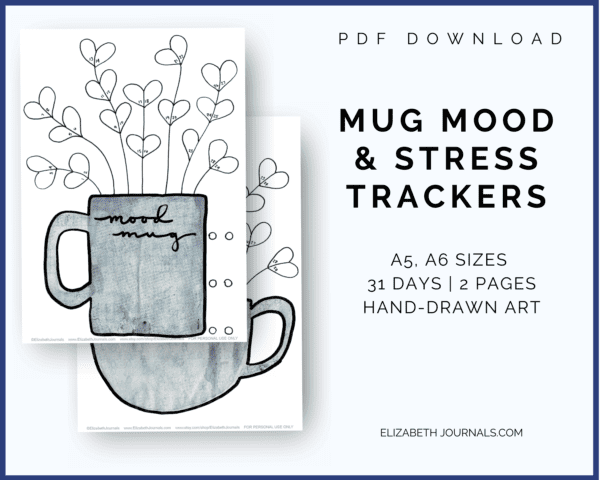 "This blue mug mood and stress trackers is a two-page tracker including two different trackers. You can color in the different parts of the mug's ""flowers"" to depict each day's mood. The mood key is located at the top and bottom left of the page where there are six different moods. This printable or digital planner page is great for any person wishing to add something cute to their planner. Instantly download the PDF of this design once you purchase the listing."