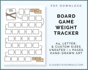 board game weight tracker-a4 letter custom sizes-undated-1 page-hand-drawn-pdf download-preview of page