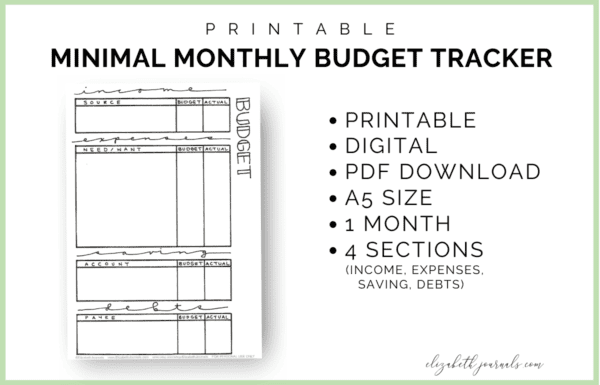 Are you looking for a simple way to keep track of your money ? This minimal monthly budget tracker is a one-page tracker perfect for your planner!