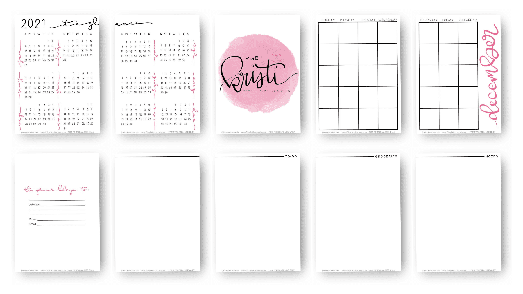 The Kristi Planner Kit is based on a custom planner and includes an information page, 2020 through 2023 at a glance, monthly ...