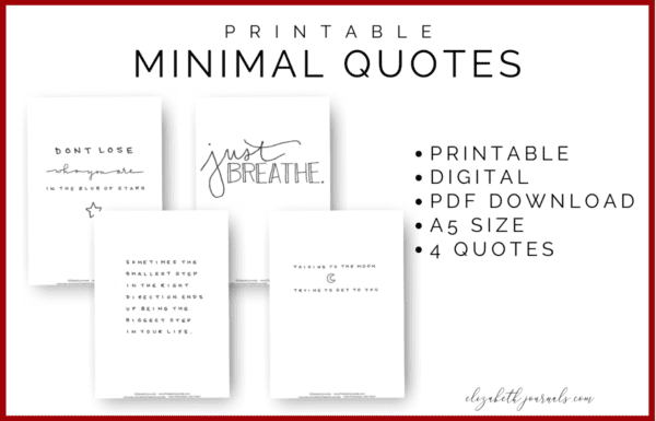 Are you looking to spruce up your minimal planner or bullet journal or encourage a positive mindset? One of the most amazing ways to do this is with some super inspirational minimal style quotes! These quotes feature both black print and script lettering done by hand. The quotes included are listed below. Purchase this listing to instantly download the PDF of the designs. You get 1 PDF file including!