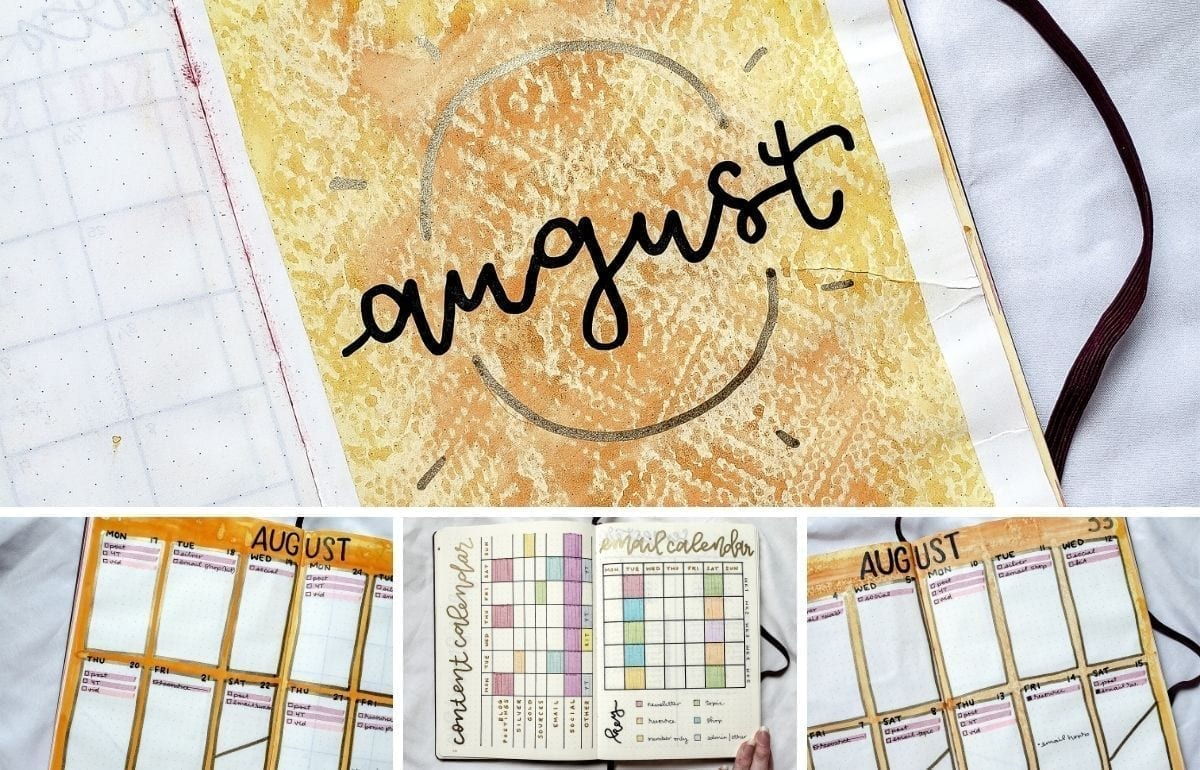 For August, ,I made a lot of changes and added a lot of new spreads. You will surely love my orange watercolor August 2020 bullet journal spread.