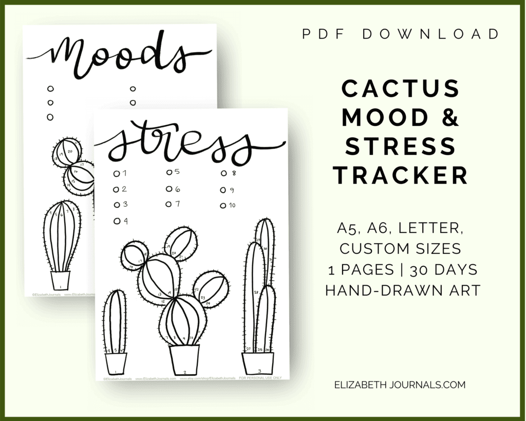 cactus mood and stress tracker info feature image, a5, a6, letter, and custom sizes, 2 pages, 30 days, hand-drawn art