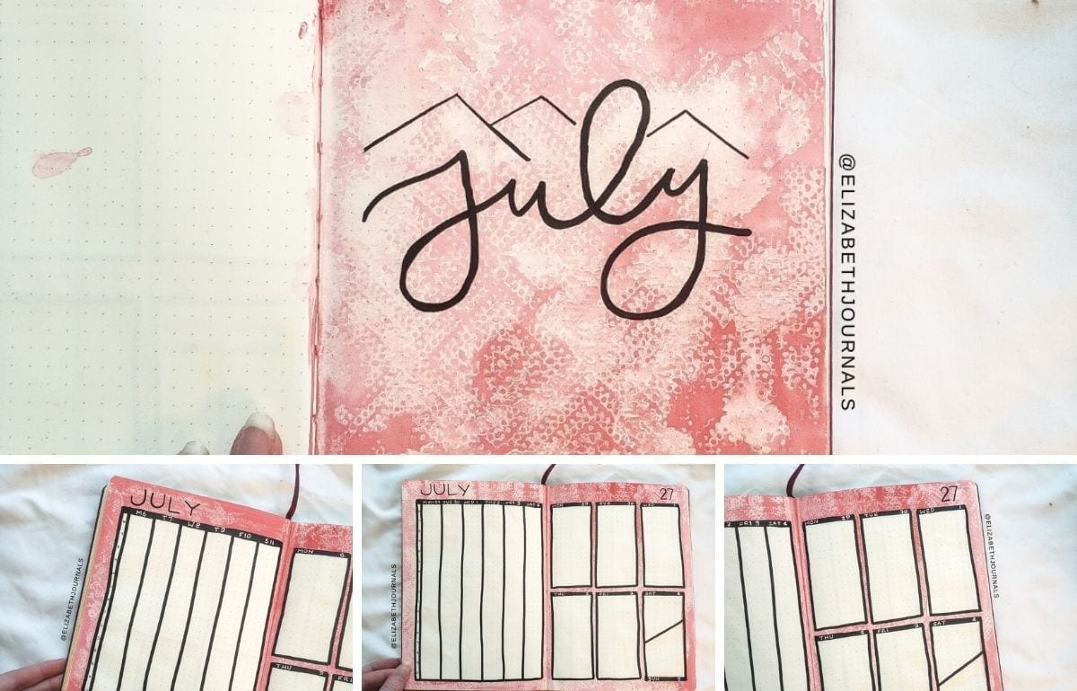 I am a huge fan of paint in my bullet journal. Let's talk about my bright pink watercolor July 2020 bullet journal layout.