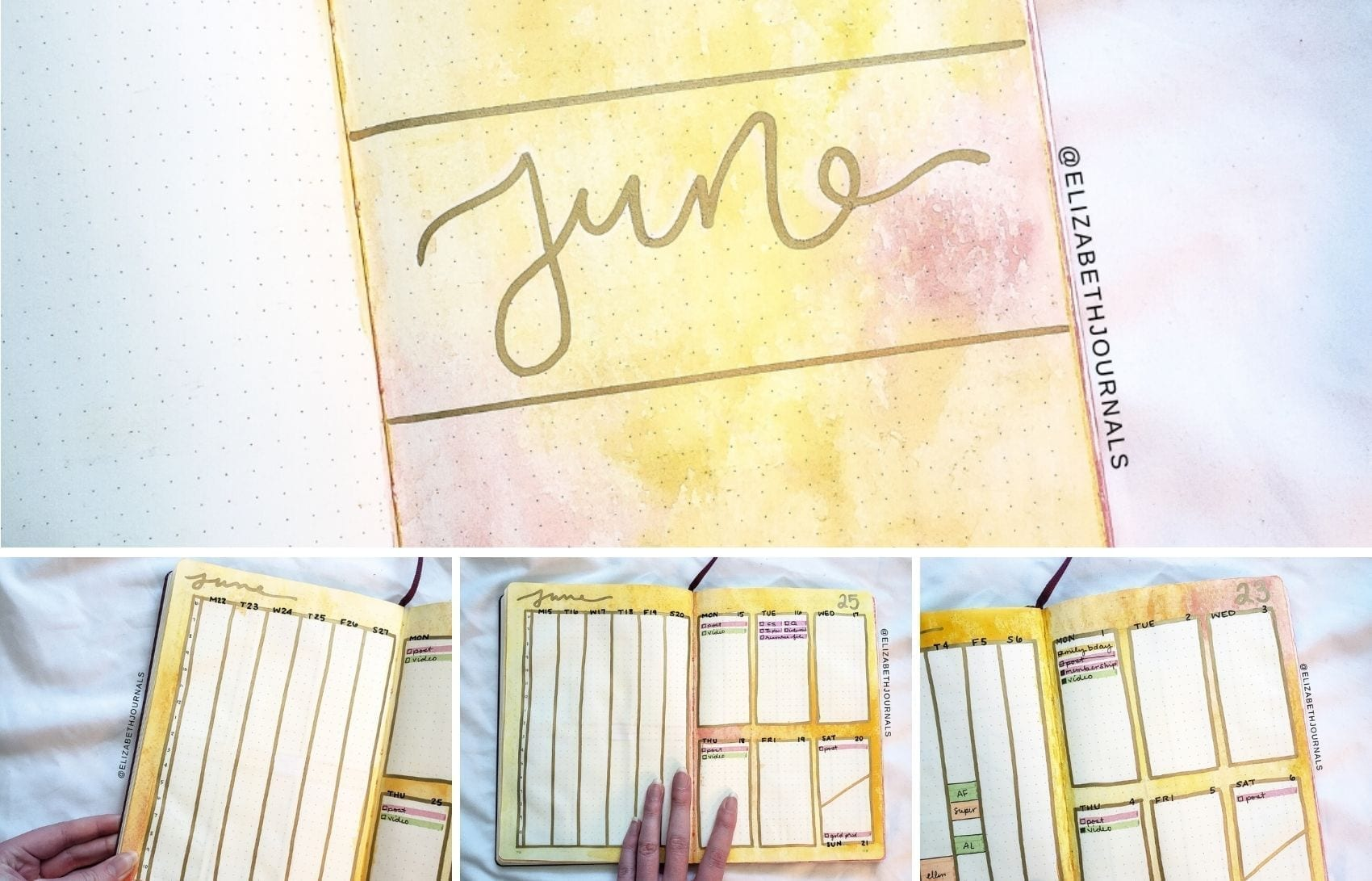I am back and had a surge of inspiration to utilize watercolor in my yellow June bullet journal. Check out my sunny tie-dye themed June bullet journal!
