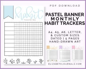 pastel banner habit trackers-pdf download-a4 a5 a6 letter custom sizes-dated-5 pages-elizabethjournals-preview 4 product pages-blue yellow purple and pink
