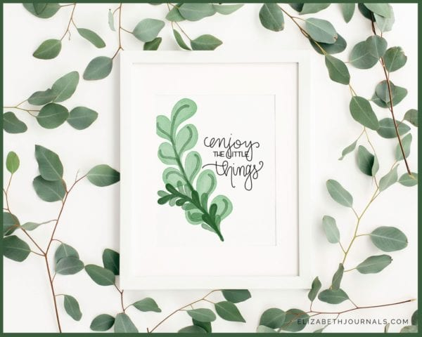 pastel inspiration mockup-white frame with mockup in it surrounded by eucalyptus branches