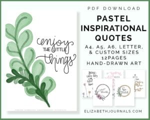pastel-inspirational-quotes listing image-a4 a5 a6 letter custom sizes-12 pages-handdrawn art-preview mockups