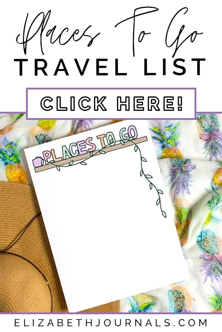 pinterest image-places to go travel list-mockup image paper on pineapple blanket with sunhat