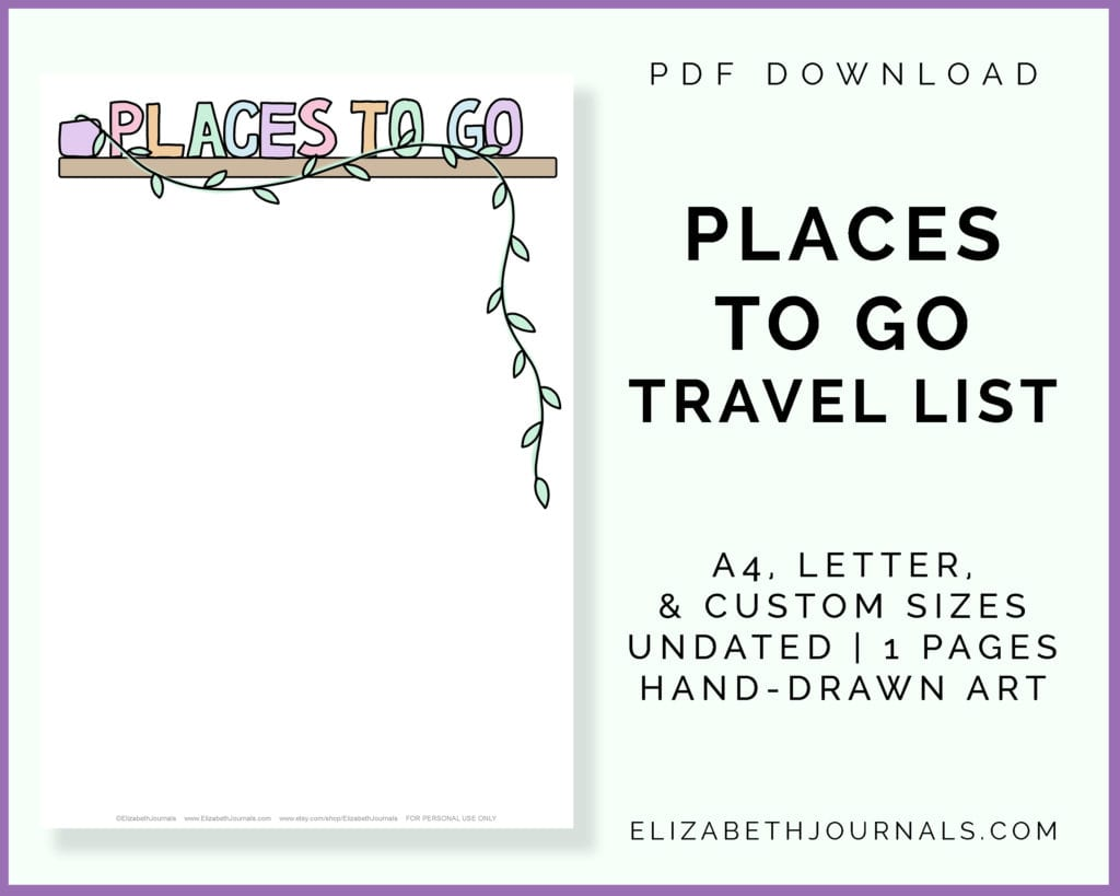 places to go listing image-instant pdf download-places to go travel list-a4, letter, custom sizes-undated-1 pages-hand-drawn art