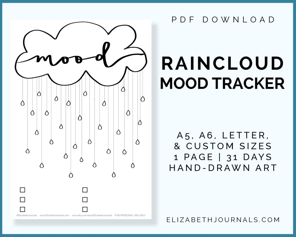 raincloud mood tracker_a5 a6 letter custom sizes_1 page_31 days_hand-drawn art_pdf download