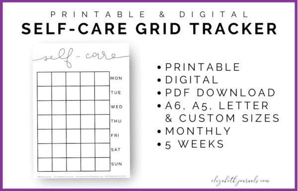 This Monthly Self-Care Grid Tracker is a perfect addition to any minimal planner or bullet journal. If you love a good mood or self-care tracker but prefer a more minimal style tracker, then you will love this tracker!