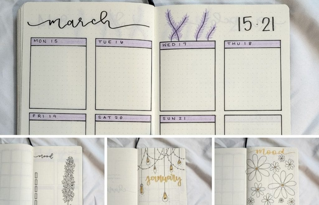 Mary ordered a custom bullet-journal-inspired planner with different themes for each month. The themes Mary chose include daisies, autumn ...
