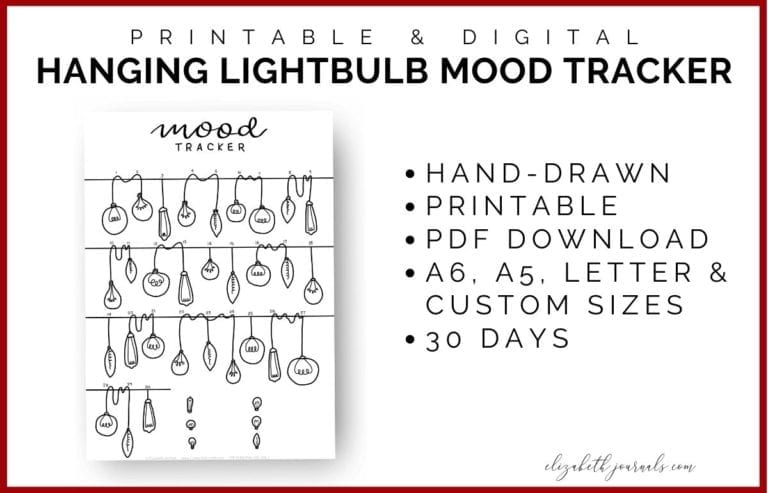 The hanging lightbulb mood tracker features 30 days of vintage light bulbs, hand-drawn, and a perfect addition to any planner.