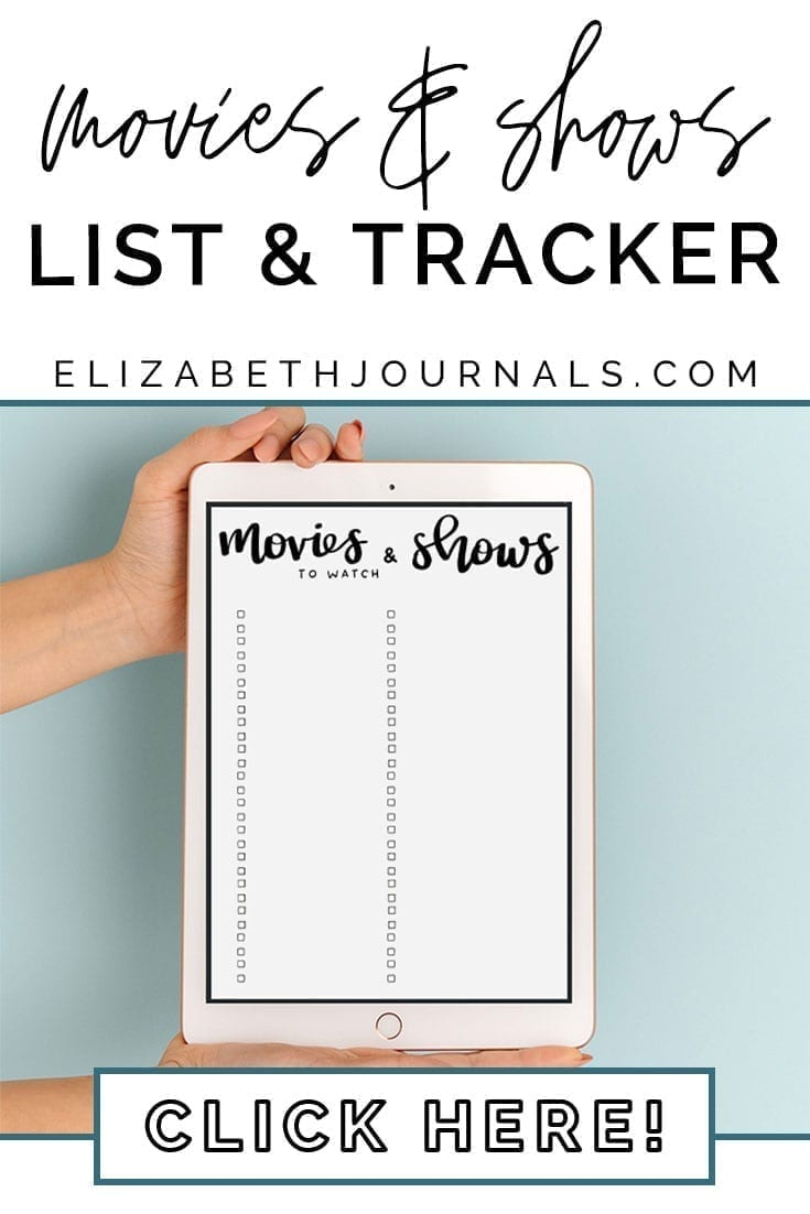 pinterest image 2-movies and shows list and tracker-click here-tablet mockup with person holding in front of teal background-elizabethjournals