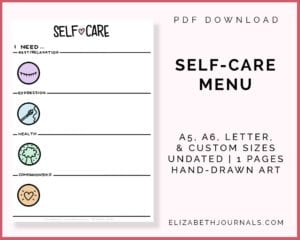 self-care menu_a5, a6, letter & custom sizes_undated _1page_handdrawn art