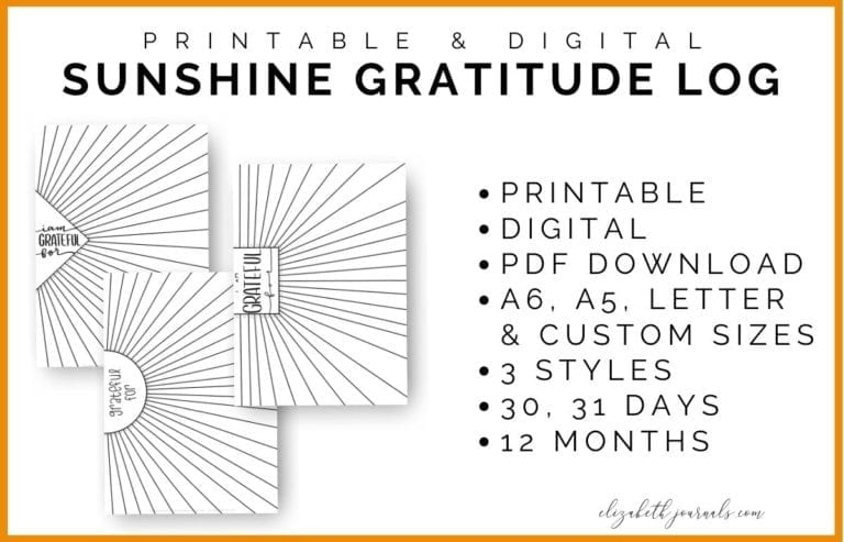 These super fun gratitude logs are inspired by the sun. If you are looking for a creative way to incorporate gratitude into your planner, then this twelve pack of gratitude log pages are for you! Each page has hand-drawn lettering and 30 or 31 spaces for logging gratitude in the sun's rays!