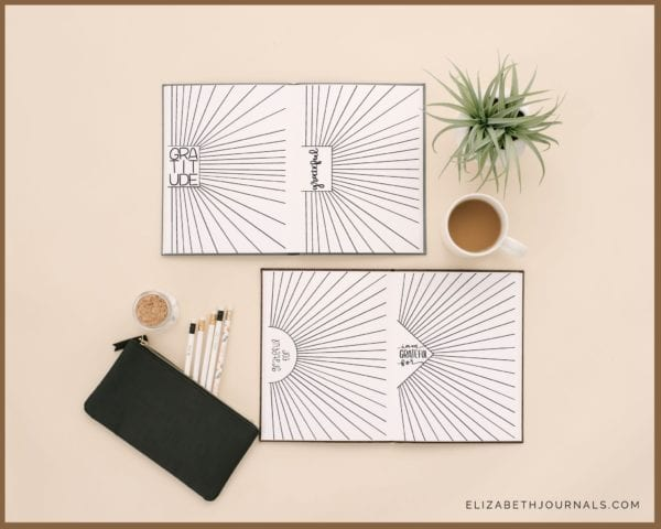 sunshine gratitude log-2 open notebooks showing previews of 4 pages-notebooks on tan background with black pencil bag white pencils plant and coffee