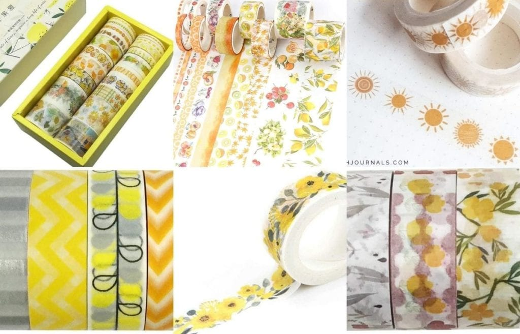 Washi tape is an excellent way to spice up your planner or DIY project. So, here are happy yellow washi tape to brighten your planner!