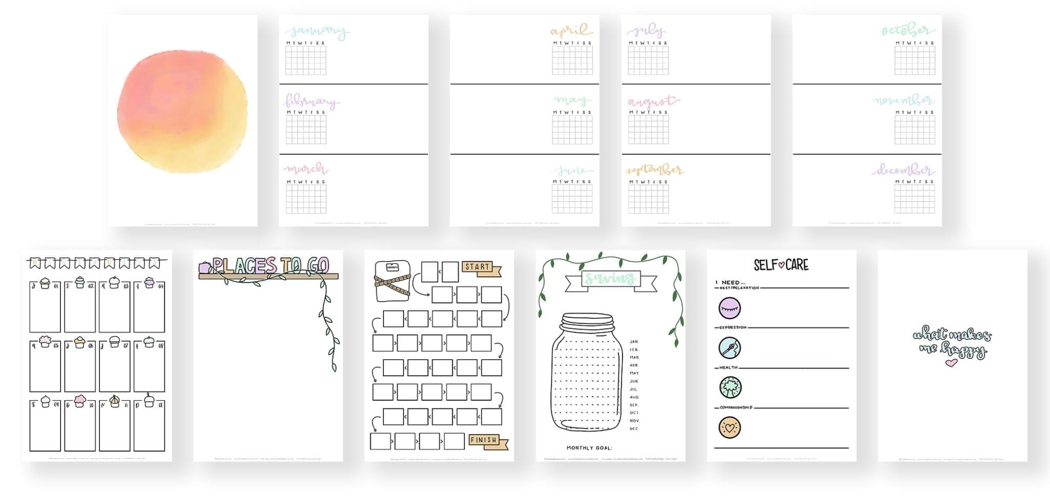banner 2-blank cover-future log-birthday log-places to go list-weight journey tracker-savings jar tracker-self-care menu-quote